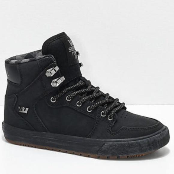 New Supra Kids Vaider CW Black & Plaid Shoes